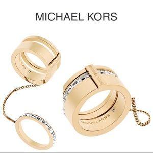 Michael Kors Gold Black Tie Affair Ring
